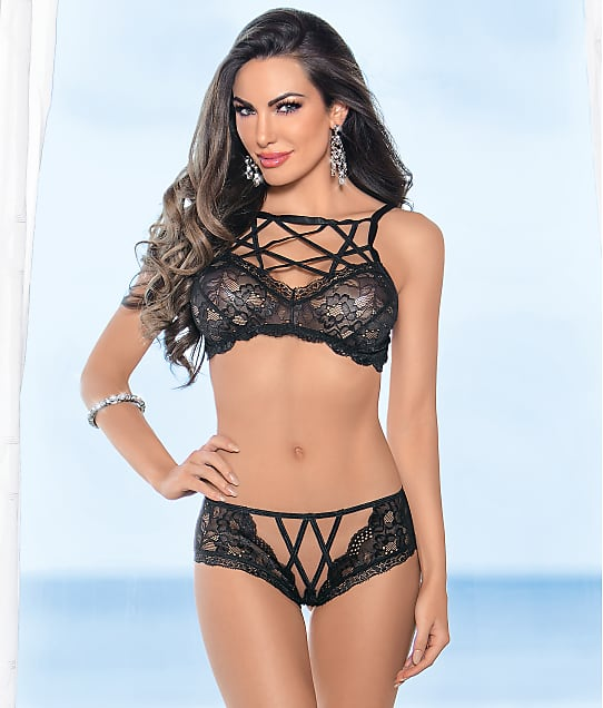 Escante: Strappy Front Wireless Bra & Panty Set