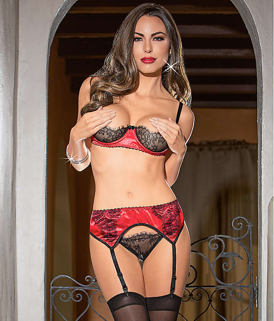 Escante: Satin Bra & Garter Set