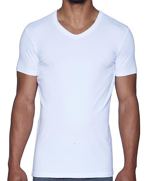 Wood Underwear Modal V-Neck T-Shirt in White(Front Views) 6000