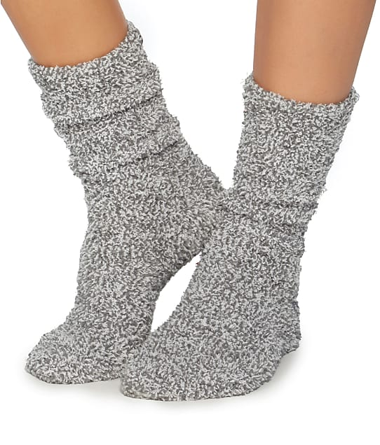 Barefoot Dreams CozyChic Heathered Plush Socks in Graphite(Front Views) 614