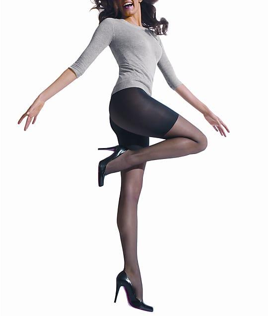 HUE Essential Solutions Sheer Shaper Pantyhose in Black(Front Views) 6477N
