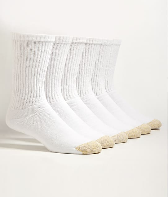 Gold Toe Cotton Cushion Crew Socks 6-Pack in White 656S