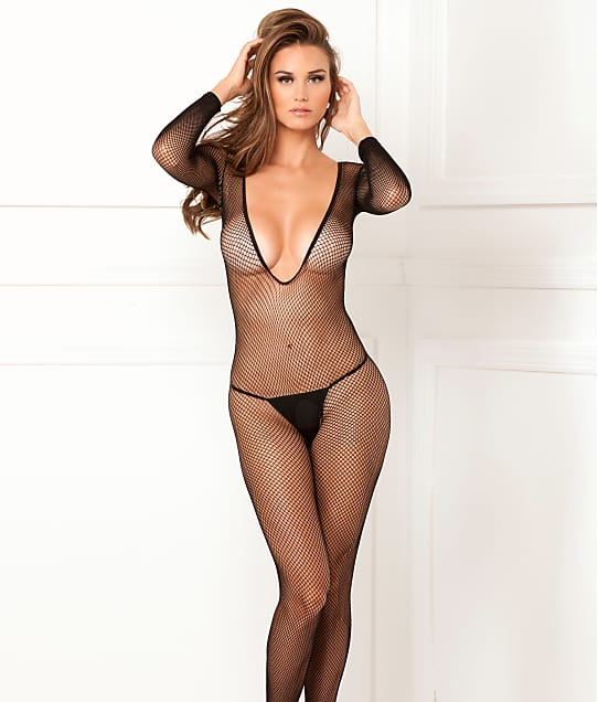 51a3a7df76c Rene Rofe Plunging Fishnet Bodystocking