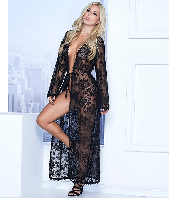 Mapalé: Long Lace Robe & G-String Set