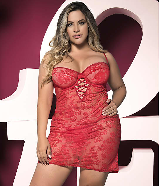 Mapalé: Plus Size Ruched Back Lace Chemise