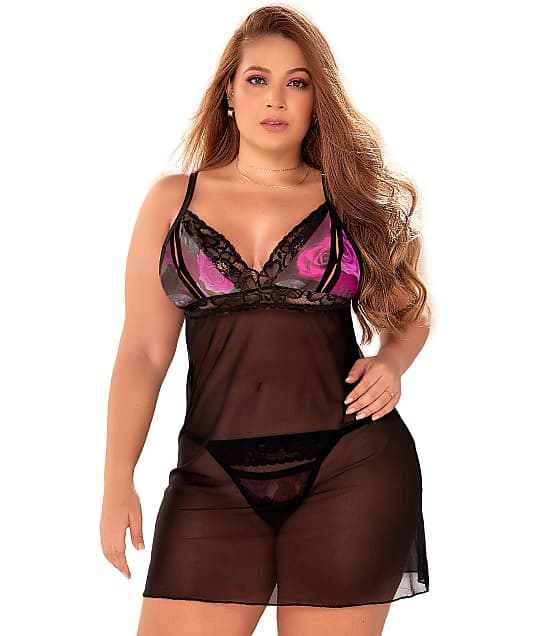 Mapalé: Plus Size Peek-a-boo Cup Sheer Babydoll Set