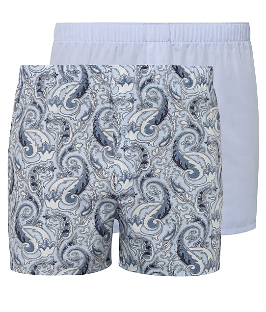 Hanro Fancy Woven Boxer 2-Pack in Paisley / Light Blue(Front Views) 74014