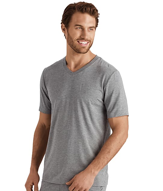 Hanro Casuals V-Neck T-Shirt in Stone Melange(Front Views) 75035