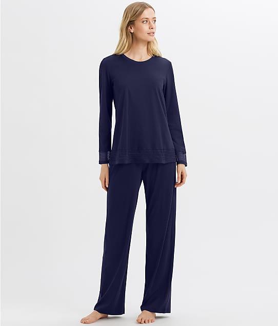 Hanro Ira Cotton Pajama Set in Intense Blue(Front Views) 76940