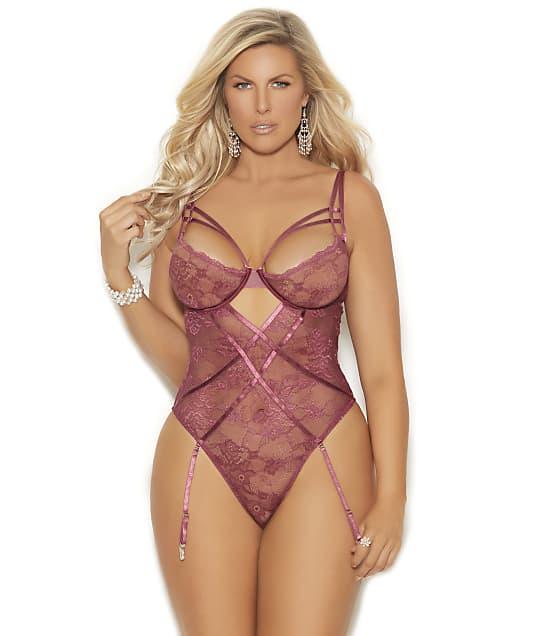Elegant Moments: Plus Size Karina Lace Garter Teddy