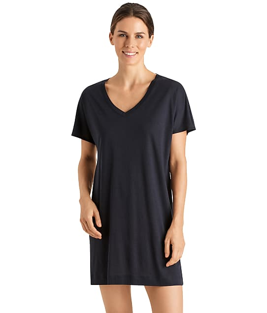 Hanro Laura Knit Sleep Shirt in Midnight 077111
