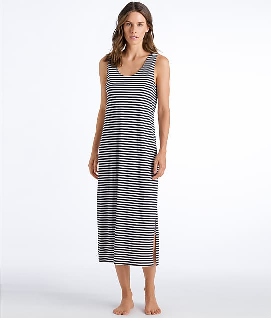 Hanro Laura Long Tank Knit Gown in Midnight Stripe 77141