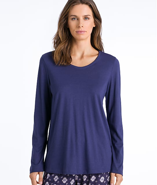 Hanro Sleep & Lounge Knit Pajama Top in Nightshade(Full Sets) 77844