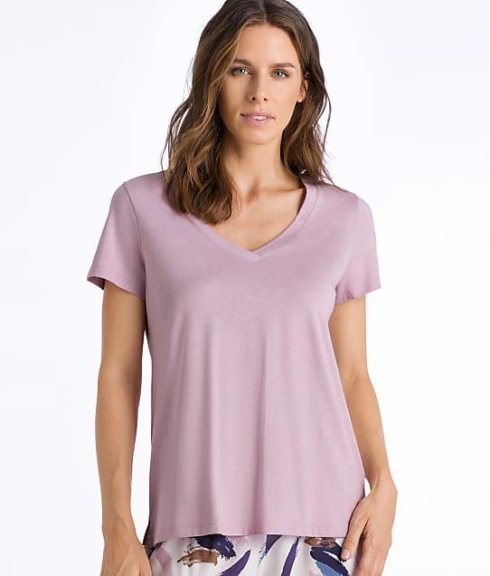 Hanro Sleep & Lounge Knit Pajama Top in Pale Rose(Front Views) 77876