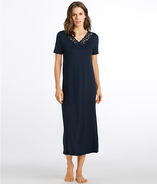 Hanro Moments Knit Long Nightgown in Deep Navy 77933