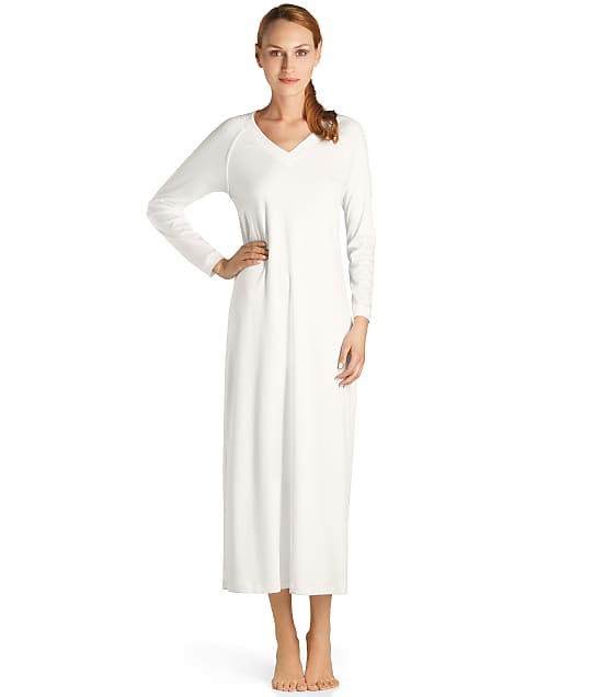 Hanro Pure Essence Knit Gown in Off White(Front Views) 077947