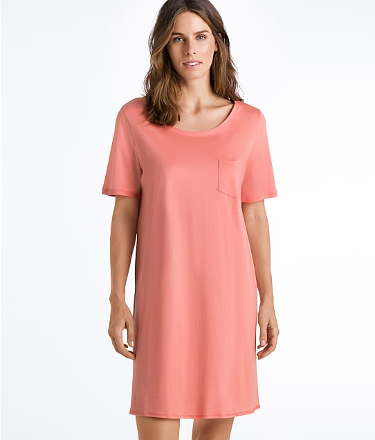 Hanro Cotton Deluxe Knit Sleep Shirt in Carnation 77953