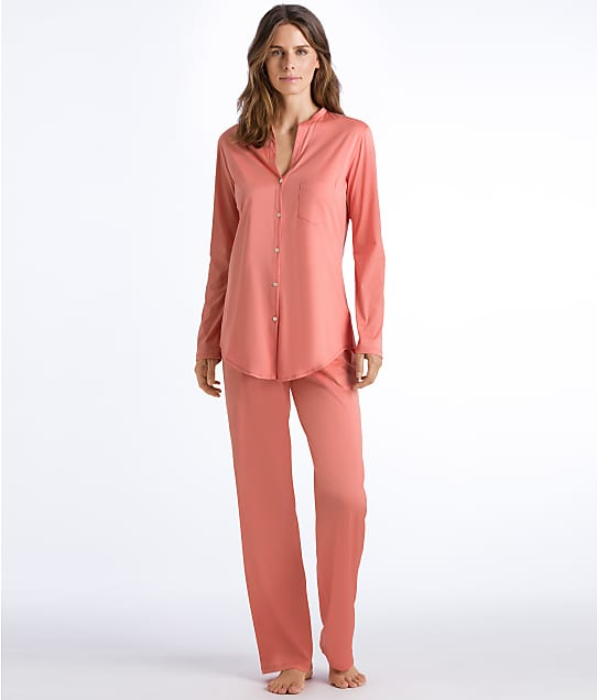 Hanro Cotton Deluxe Knit Pajama Set in Carnation 77956