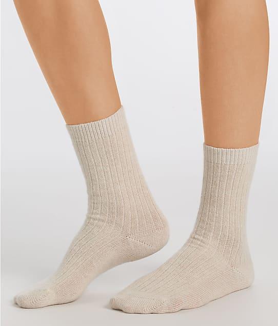 Hanro Luxurious Crew Socks in Rock Crystal(Front Views) 78551