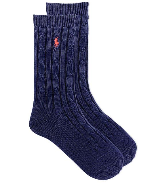 Ralph Lauren True Cable Crew Socks in Navy 79083