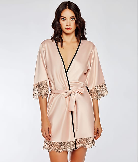 iCollection: Satin Contrast Lace Robe