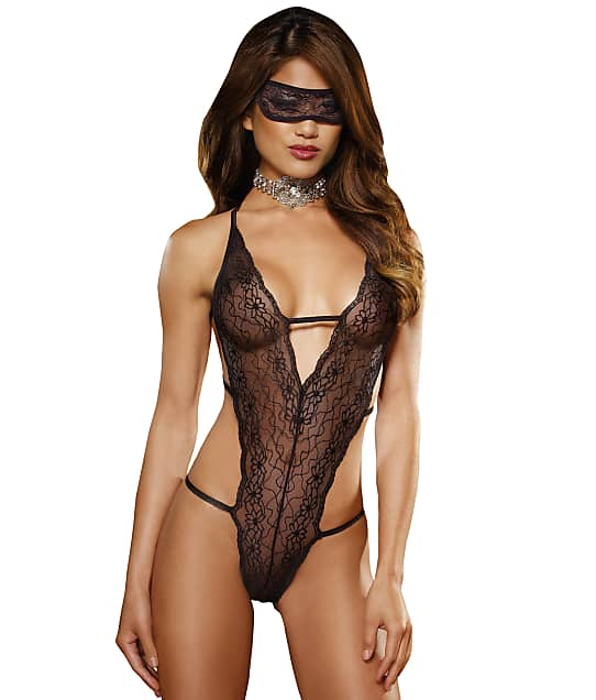 Dreamgirl: Lace Teddy And Eyemask Set