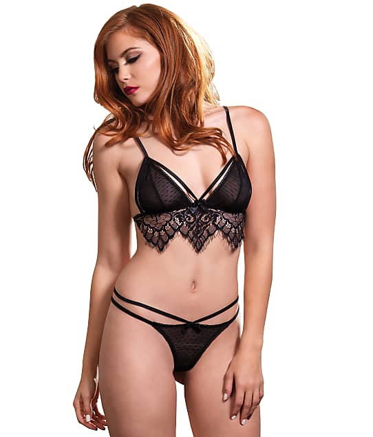 Leg Avenue: Swiss Dot Wire-Free Cage Bra Set