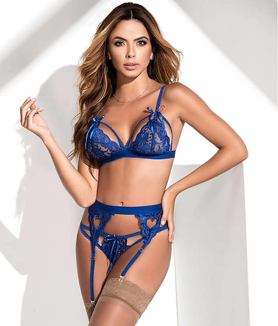 Mapalé: Cage Lace Wireless Bra & Garter Set
