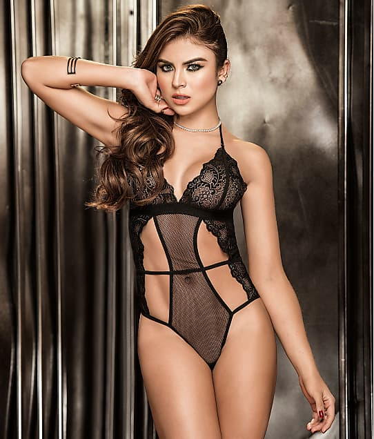 Mapalé: Fishnet & Lace Wireless Halter Teddy