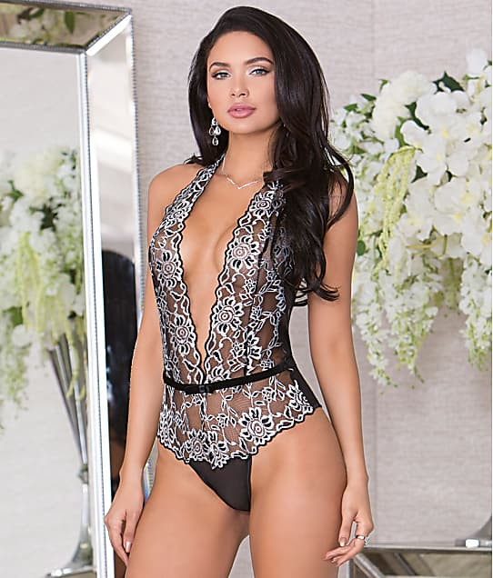 iCollection: Deep V Wire-Free Lace Teddy
