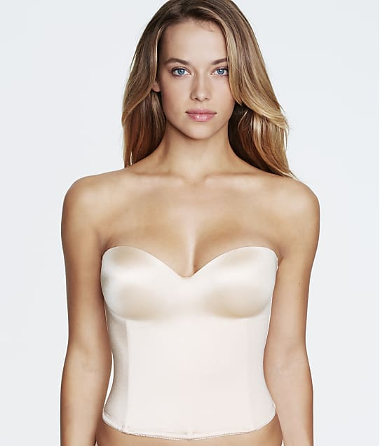 Dominique Longline Smooth Strapless Bra in Nude(Front Views, White) 8541