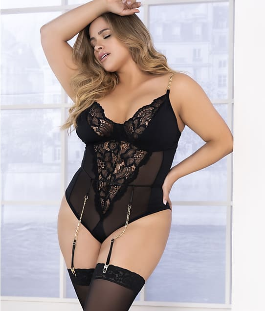 Mapalé: Plus Size Lace Garter Teddy