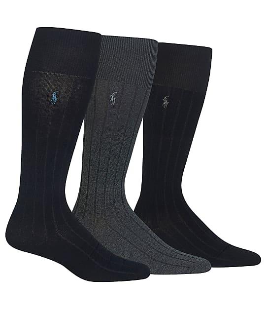Polo Ralph Lauren Over The Calf Dress Socks 3-Pack in Navy Assorted 8581PK