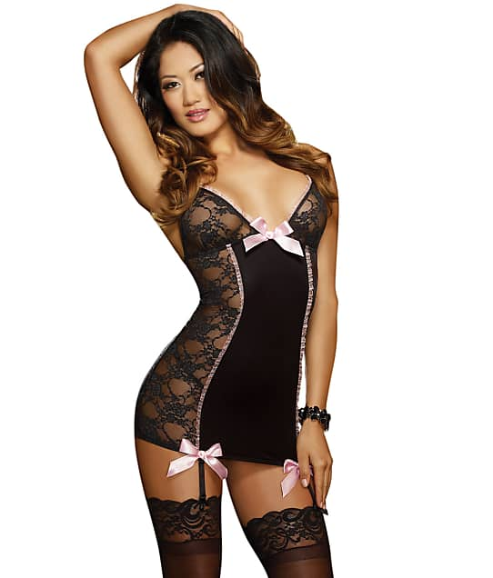 Dreamgirl: Lace Garter Wire-Free Chemise Set