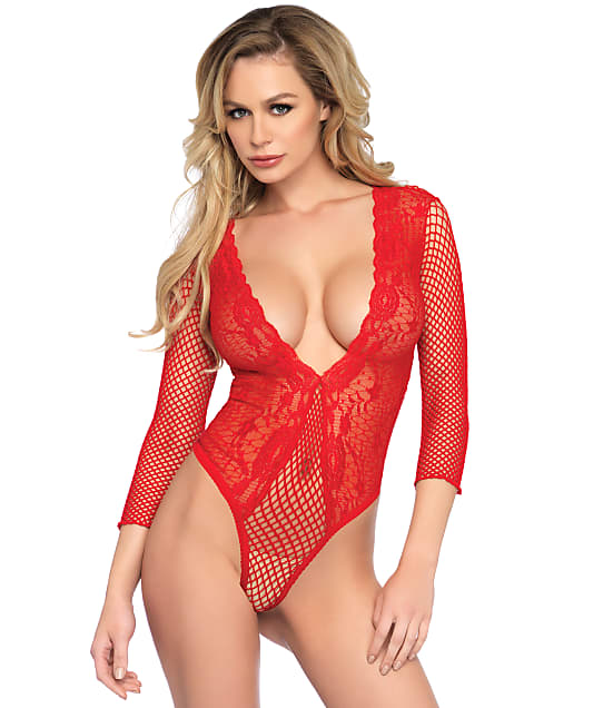 Leg Avenue: High Cut Deep-V Lace Teddy