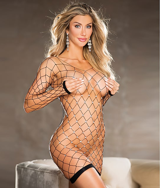 Shirley of Hollywood: Rhinestone Fishnet Chemise