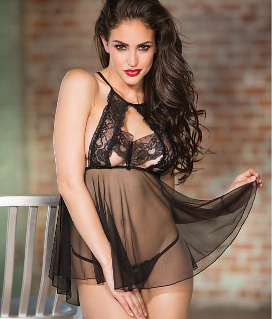 Shirley of Hollywood: High-Neck Wireless Lace Babydoll Set