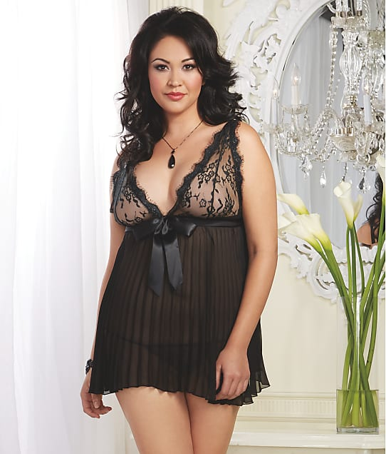 Dreamgirl: Plus Size Pleated Wire-Free Babydoll Set