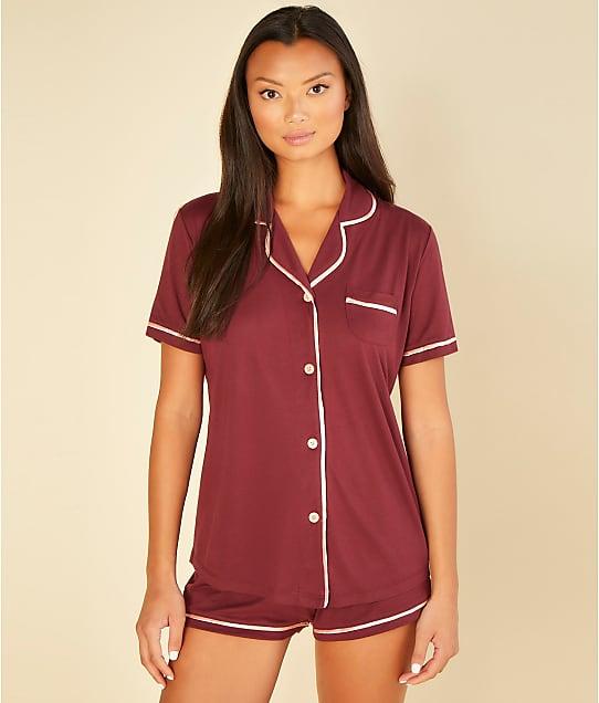 Cosabella Bella Knit Top & Boxer Pajama Set in Vino / Fiore(Front Views) AMORE9622