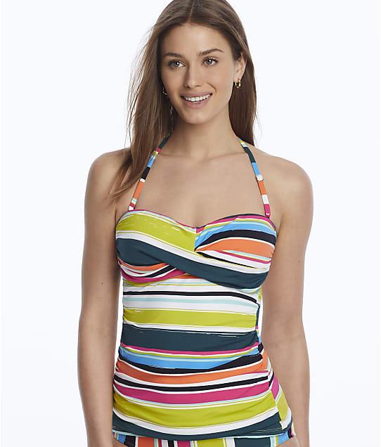 Anne Cole Signature Clear Water Stripe Twist Bandini Top in Multi(Front Views) 20MT25026