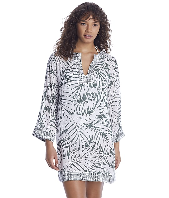 Anne Cole Signature Palm Breeze Tunic Cover-Up in Multi(Front Views) 21MC53483