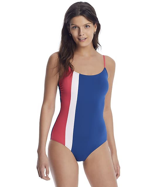 Anne Cole Signature Color Block Maillot One-Piece in Blue / Red 21MO02474