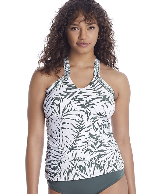 Anne Cole Signature Palm Breeze Hi-Neck Tankini Top in Multi(Front Views) 21MT29483