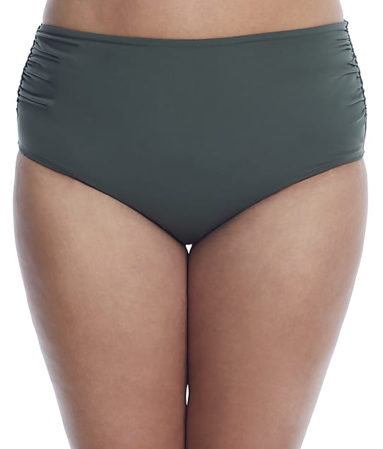Anne Cole Signature Plus Size Live In Color Convertible Bikini Bottom in Island Green(Front Views) 21PB36001