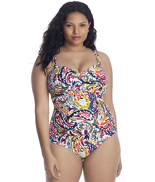 Anne Cole Signature Plus Size Watercolor Paisley Banded One-Piece in Multi(Full Sets) 21PO00595