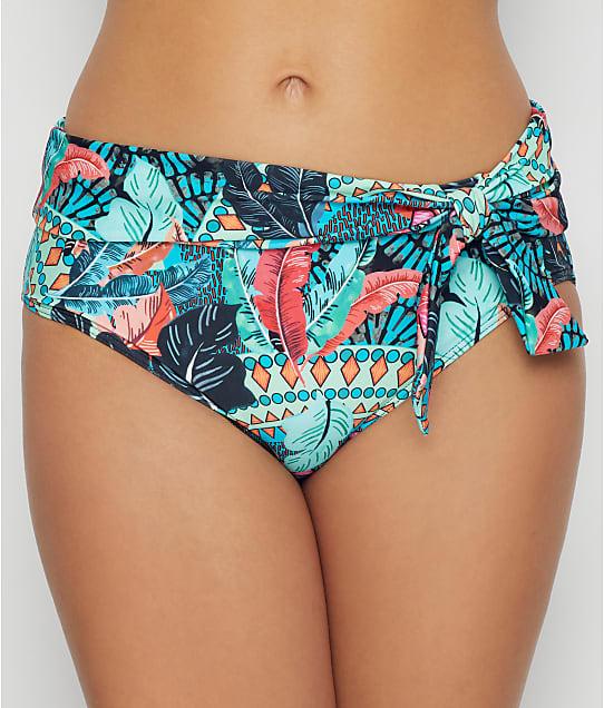 Pour Moi Soleil Fol-Over Bikini Bottom in Turquoise Multi(Front Views) 182270-TURQ