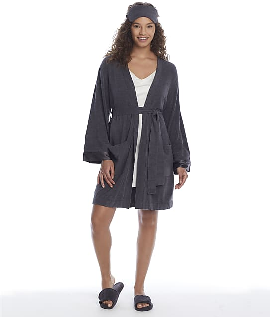 Barefoot Dreams Robe Set in Faded Black(Front Views) BDWBN1920