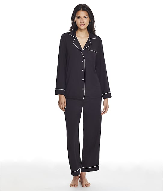 Barefoot Dreams Luxe Milk Jersey Modal Piped Pajama Set in Black / Pearl BDWLM0186