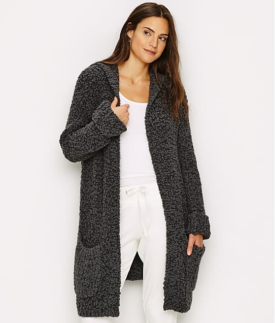 Barefoot Dreams Boucle Hooded Cardi in Carbon BDWNV1114
