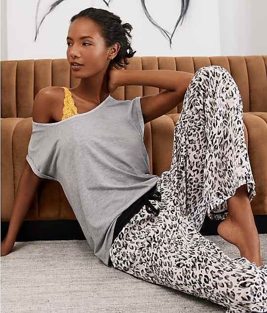 Bare Necessities Rise and Shine Satin and Jersey T-Shirt in Grey Heather(Look) R22B601